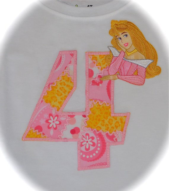 Custom Boutique Girls Disney Vacation Birthday Party Sleeping Beauty AURORA APPLIQUE Princess Birthday Number  Shirt