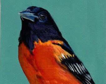 Baltimore Oriole, Miniature, Original Acrylic  Painting
