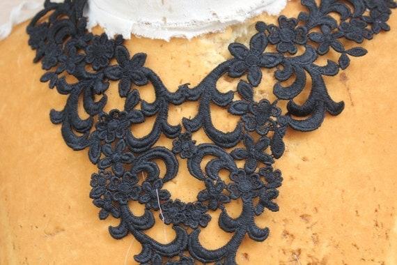 Cute venice  applique yoke  black color 1 pieces listing