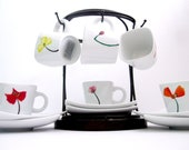 Mixed Poppies Espresso Set with Display Stand