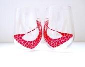 Wine Glasses- Ruby Slippers- Set of 2