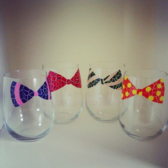 RESERVED Mosaic Bow Tie Wine Glasses- Set of 4