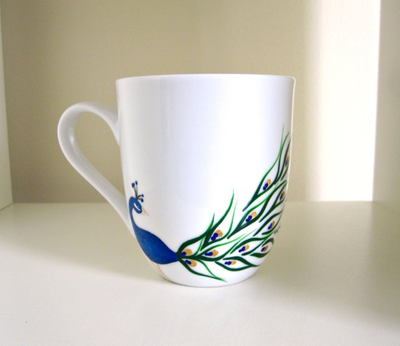 Peacock coffee cup hand painted porcelain mug by meku on etsy for How to paint a mug