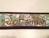 Monogrammed Guitar Strap - blue and brown foliage