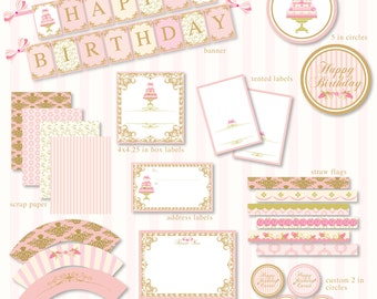 Cake Tea Party Birthday Printable Party - Custom Package