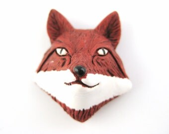 1pcs Red Fox Bead - Fox Head Face - Fox Pendant Charm - Woodland Bead DIY Jewelry Supply Gift For Her - Woodland Forest Animal H34