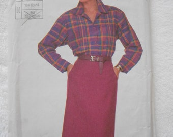 1950s style pencil skirt and blouse pattern size 12  7714  super saver