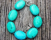 TURQUOISE Bracelet stone blue silver metal boho teal birthday for her big large beaded beadwork stone oval wedding bridesmaids party favor