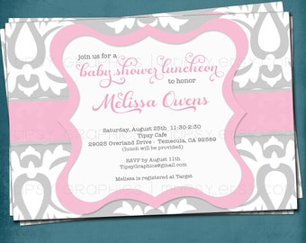 Pink. Big Damask Vintage Style Baby / Bridal Shower Invitation.  Any colors and text by Tipsy Graphics