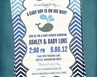 Ombré Baby Boy Whale Chevron Baby Shower or Birthday Invite by Tipsy Graphics. Any text.