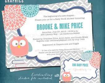 Stock the Library Baby Shower Invitation. Chevron Mum Baby Owl. Bring a Book. Coordinating DiY Book Plate Sticker Design Included. Printable