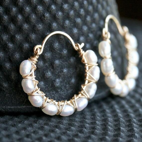 Handmade pearl hoops, white freshwater pearls, 14k gold filled, wire wrapped, hoop earrings, pearl earrings, Mimi Michele Jewelry