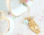 Little Owl Charm Necklace-14K Gold Filled Necklace