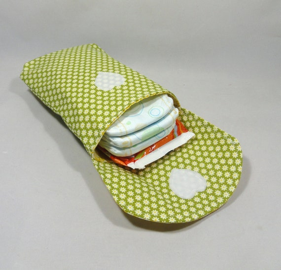 Diaper and  Wipes Holder . Diaper Clutch .Daisies