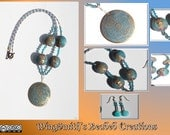 Bronze and Blue Pendant & Earrings with Opals