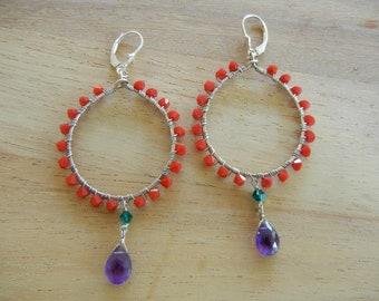 Red Swarovski Earrings, Silver Hoop Earrings, Crystal Dangle Earrings, Amethyst Earrings