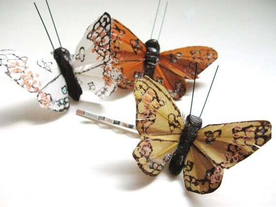 Butterfly Bobby Pins - set of three for whimsical weddings, bridesmaids, and free spirits
