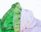 Pink and Lime Green Minky Baby Blanket With Ruffle Trim