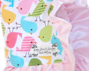 Baby Blanket Urban zoologie Spring Chicks With Baby Pink or Hot Pink and Satin Ruffle Trim Stroller Size
