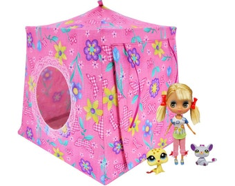 Toy Pop Up Tent, Sleeping Bags, pink, butterfly & flower print fabric