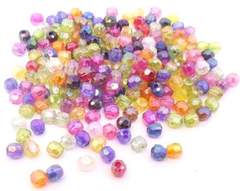 Mix color 480 multicut facted acrylic 5 mm beads