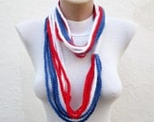 July 4th infinity Scarf,Crochet Scarf,Blue Red White,chain loop scarf