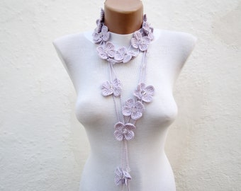 Scarf,Crochet Lariat Scarf,Lilac,Flower Lariat,Crochet Long Necklace,Valentines