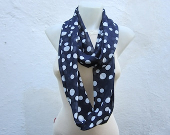 Polka Dot infinity scarf,circle scarf,Loop scarf,Necklace Fabric scarf
