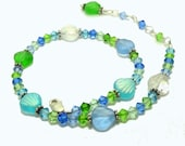 Anklet Sterling with Glass Shells and Swarovski Crystals