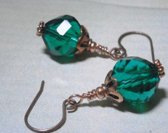 Teal Glass And Copper Earrings - Irish Eyes - Sparkling Shimmery Handmade Fashion Earrings Warm Copper Under 20