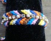 SALE, Friendship Bracelet, Multi Colored With PEarl & Crystal Rhinestone Bracelet Attached