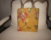 SALE  Mustard color background with multi color floral design