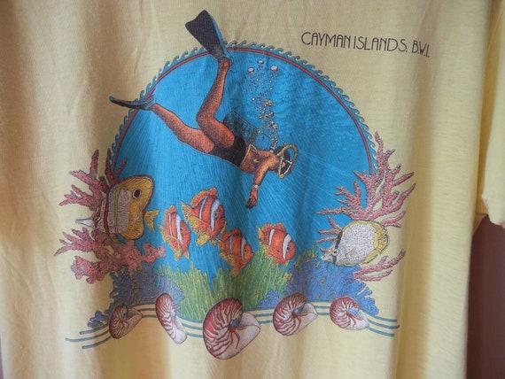Vintage Caymen Islands T Shirt, 80's, Thin, Soft, Seapunk, Fish, Ocean, Size Medium, Yellow, Unisex, Hipster