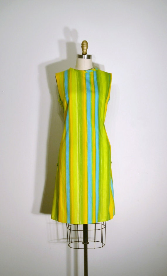 RESERVED FOR STACEY Vintage 1960s Dress - 60s Striped Shift Dress - Mango Mint