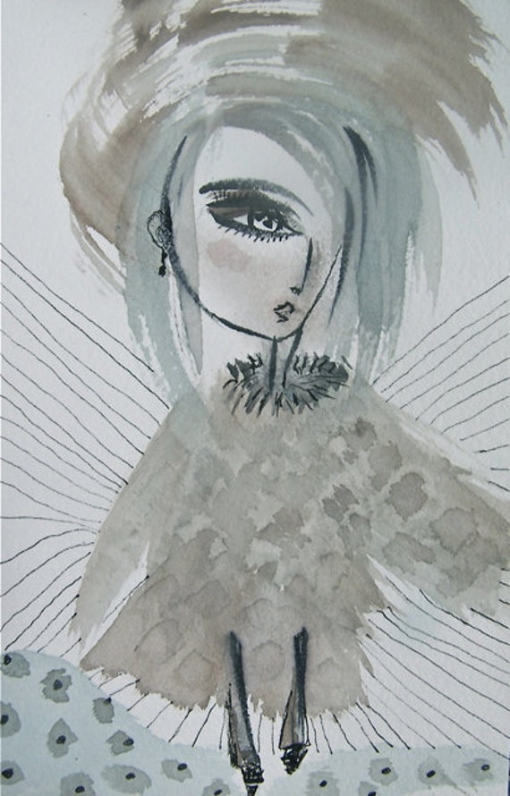Lily Emerging From the Striped Mountains- Watercolor - Ink on Archival Paper- Pale Sepia -Aqua blue Gray Black and White