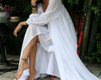 Bridal Lingerie Robe Wedding White Nylon Peignoir Peasant Sleeve Full Sweep Tie Front Dressing Gown
