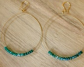 """2 1/2 """" antique gold hoops with turquoise crystal beads"""