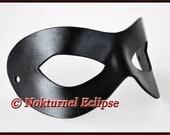 Black Superhero Leather Mask by Nokturnel Eclipse Masquerade Batgirl Robin Batman Harley Quinn Halloween Comic Con Dragoncon Cosplay UNISEX