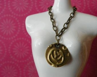 necklace for Blythe - embossed brass rosebud design B187