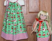 Holiday Sock Monkeys: Matching  Pillowcase Dress for Child and 18 inch doll (Sz 6 mo - Sz8)