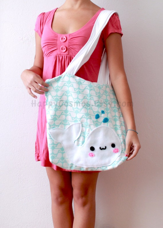 White Whale Tote Bag - Cute Tote , Kawaii Bag , Halloween