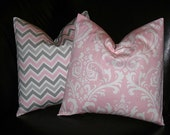 """PINK Nursery Pillows MODERN Baby Decorative Home Decor Pillow Covers gray 16 inch pink, white, grey 16"""""""