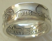 1914 Barber Half Dollar Coin Ring in a Size 10 (90 Percent Silver)