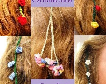 Crochet Pattern Flower Strings Hair Ornaments  6 flower and 4 stem designs PDF instant digital download