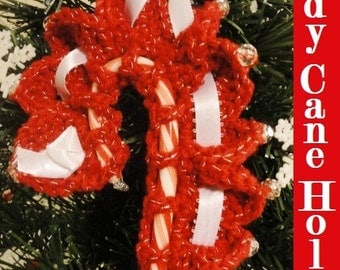 Beaded Candy Cane Holder Christmas Tree Ornament or Package Decoration