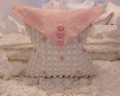 White & Pink Hand Made Vintage Chenille Envelope Pillow Cover - Chenille Bedspread - Shabby Chic