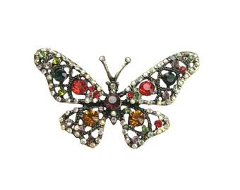 1 Butterfly Crystal Rhinestone Brooch - Wedding Cake Topper Brooch Bouquet Hair Pin Clip Gift Box BRO-027 (74mm or 2.9inch)