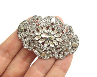 1pc Art Deco Crystal Rhinestone Button or Connector for Wedding Hair Accessories Bridal Sash CN-003 (55mm or 2.2inch)