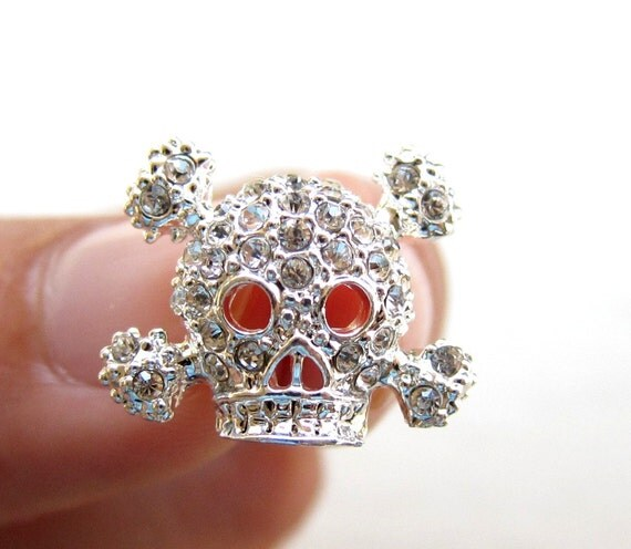 Last 7pcs Crystal Rhinestone buttons SKULL - wedding accessories invitation card scrapbooking RB-036 (19mm/15mm or 0.75 inch / 0.6 inch)