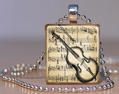 Vintage Cello Art on sheet music Pendant on an Upcycled Scrabble Tile (143B8)